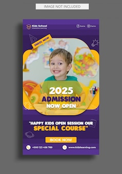 Kids education admission instagram story template