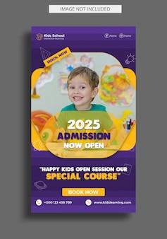 Kids education admission instagram story template Premium Psd