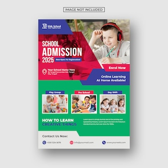 Kids education school admission flyer template