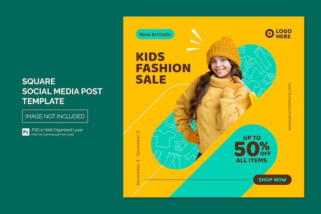 Шаблон сообщения в социальных сетях kids fashion sale square