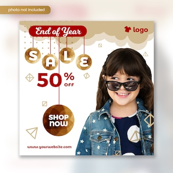 Kids fashion winter sale square banner template