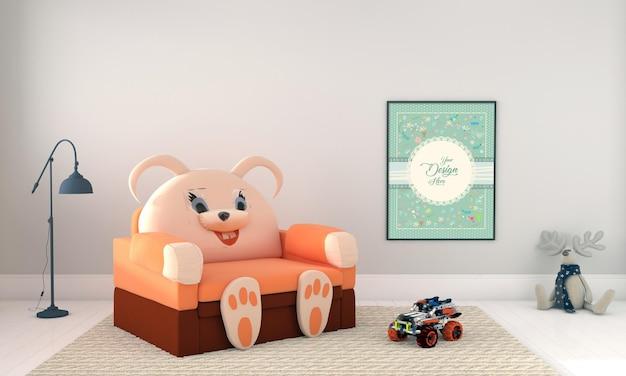 おもちゃとフレームのモックアップ付きキッズ家具
