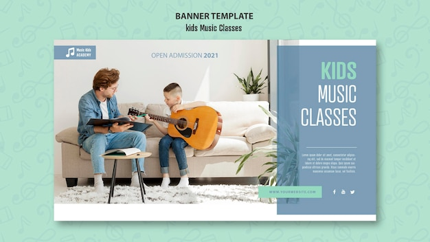 Kids music classes concept banner template