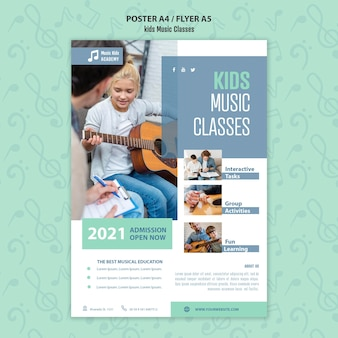 Kids music classes concept flyer template