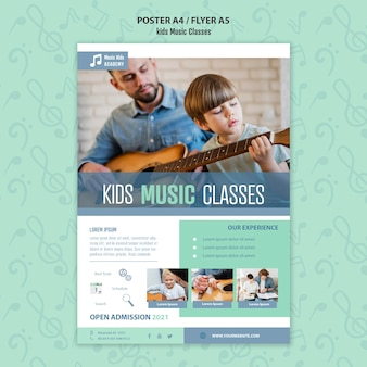 Kids music classes concept poster template
