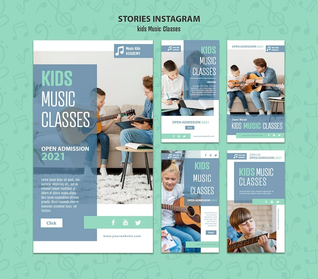 Kids music classes instagram stories concept template