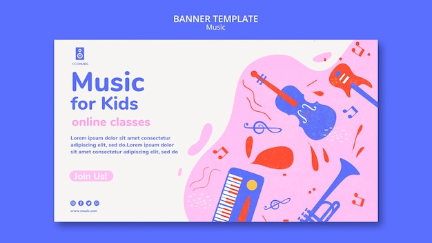 Kids music platform banner template