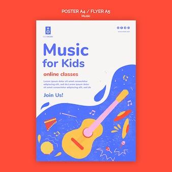 Modello di volantino per piattaforma musicale per bambini