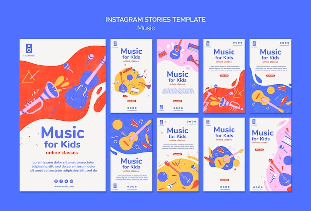 Шаблон историй instagram для детской музыкальной платформы