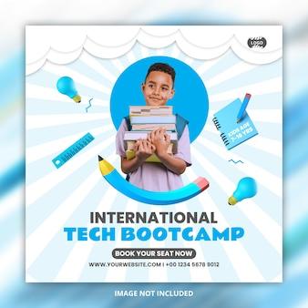 Kids online school bootcamp social media post flyer template