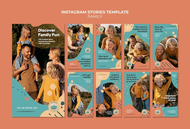 Kids and parents family instagram stories design template