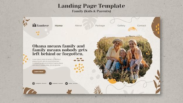 Kids and parents landing page design template