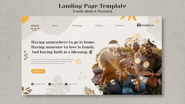 Modello di progettazione della pagina di destinazione di bambini e genitori