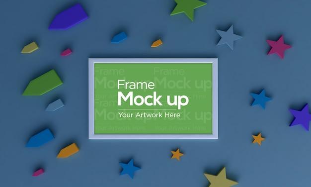 Детская рамка для фотографий плоская планировка mockup design со звездами