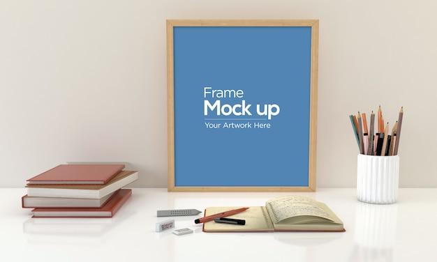 本とモックアップデザイン床に敷設の子供のフォトフレーム