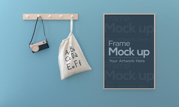 Kids photo frame mockup design with bag and camera