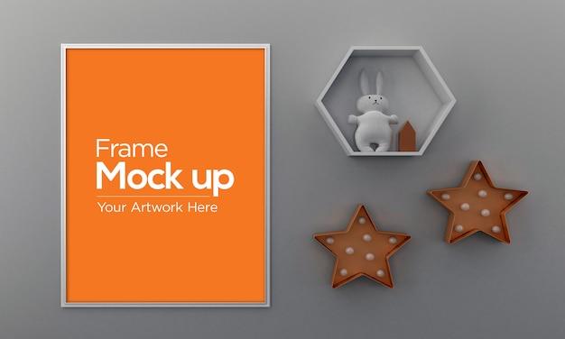 ウサギと星の子供フォトフレームモックアップデザイン