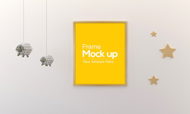 Kids photo frame mockup design with hanging sheep