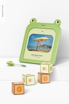 Cornice per foto per bambini con cubi mockup