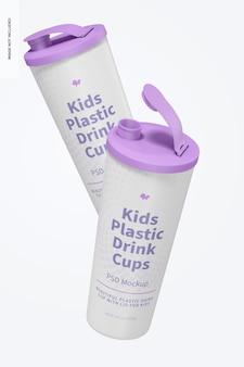 子供用プラスチック ドリンク カップ、ふた付きモックアップ、フローティング