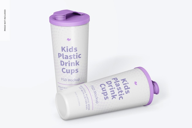 Kids plastic drink cup with lid mockup, standing and dropped