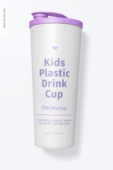 蓋のモックアップ付きの子供用プラスチック ドリンク カップ、トップ ビュー