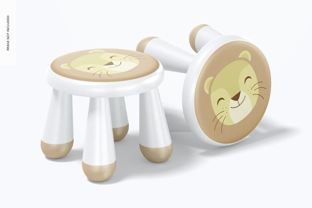 어린이 플라스틱 의자 모형, 서서 떨어 뜨림