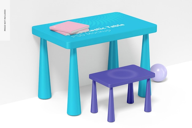 어린이 플라스틱 테이블 목업, 좌측면