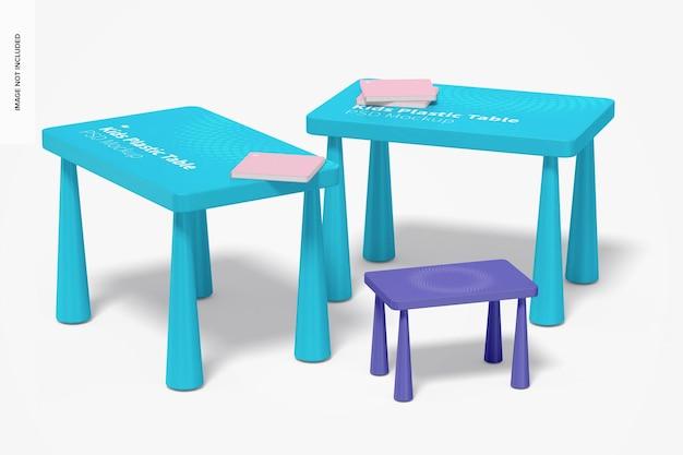 어린이 플라스틱 테이블 목업, 관점