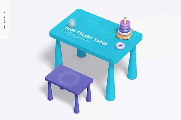 어린이 플라스틱 테이블 목업, 우측면