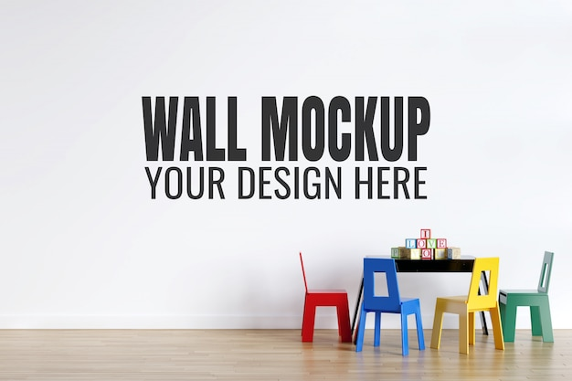 Kids playroom interior wall mockup with toys decorations