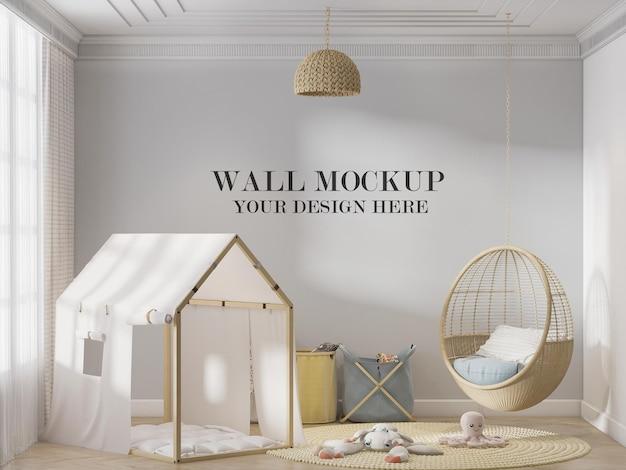 Макет стены детской игровой комнаты за качелями и палаткой