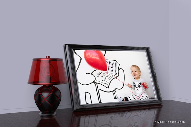 Kids poster with photo frame mockup design