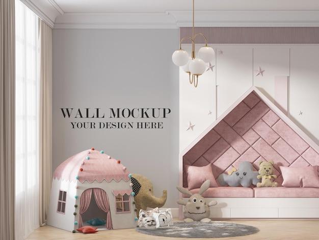 Kids room wall background in 3d rendering