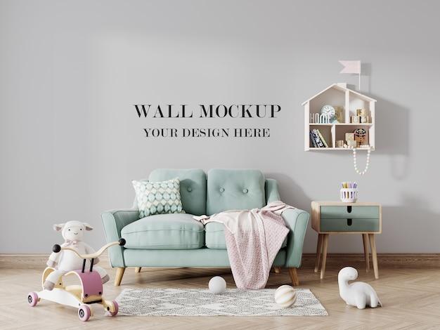 Kids room wall mockup for design ideas