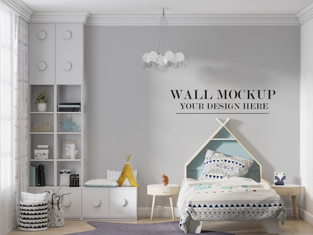 Kids room wall mockup behind house headboard bed