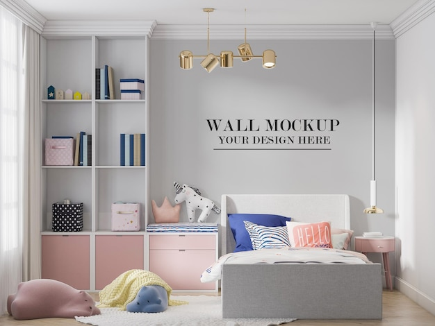 Kids room wall mockup behind pink and white colour furniture