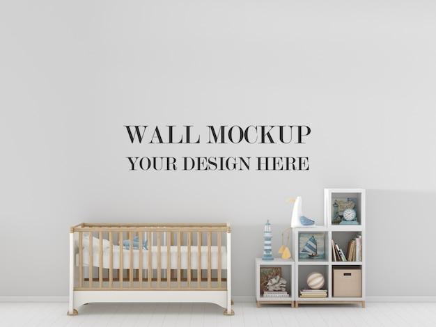 キッズルームの壁モックアップ、家具、おもちゃ