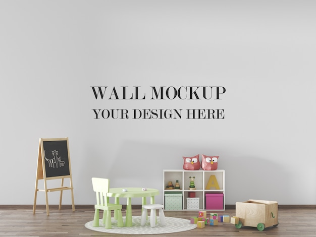 Kids room wall mockup with furniture and toys