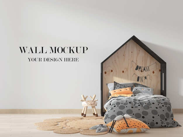 Kids room wall mockup with house shaped bed