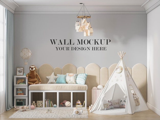 Kids room wall mockup with play tent in room
