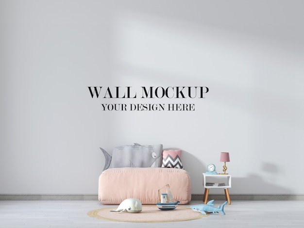 Kids room wall mockup with soft seat and toys in interior