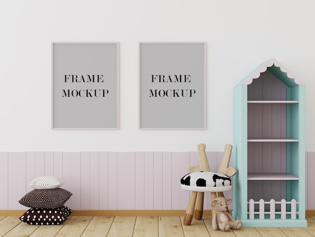 Kids room with picture frames mockup