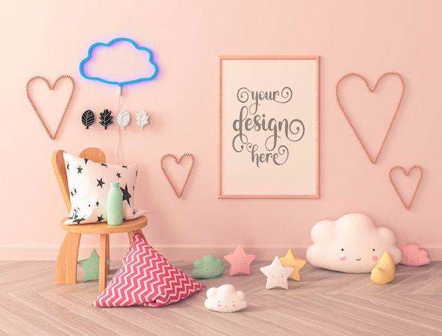 Kids room with pillows on the floor poster mockup and hearts on the wall