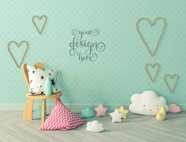 Kids room with pillows on the floor with wall mockup and hearts