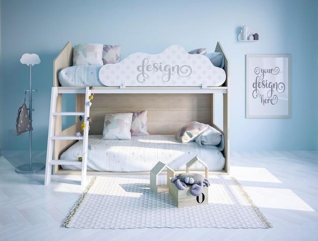 床に枕のあるキッズルームポスターのモックアップと壁にハートの青いネオン雲の形3dレンダリング