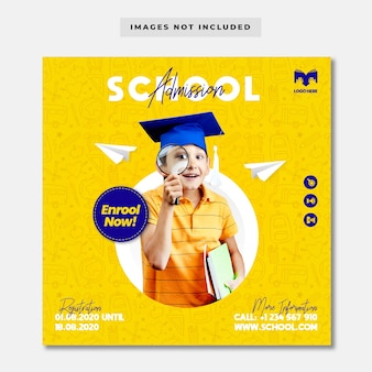 Kids school admission banner template
