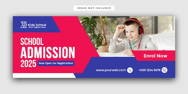 Kids school admission facebook cover template