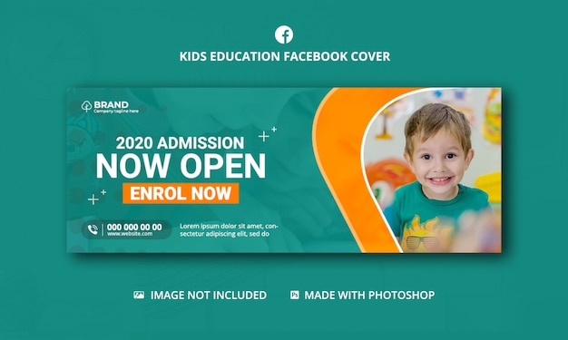 Kids school admission social media cover,facebook cover template