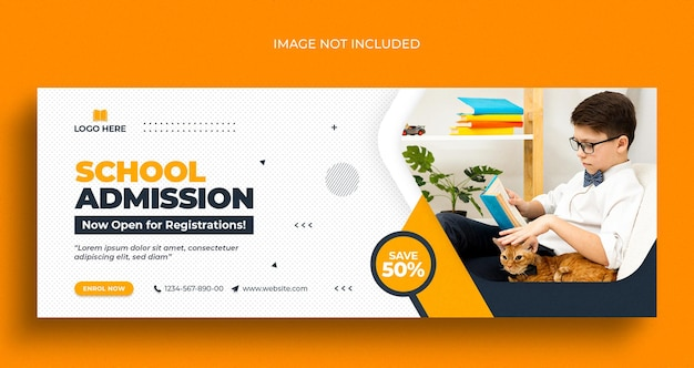 Kids school admission social media post web banner flyer and facebook cover photo design template